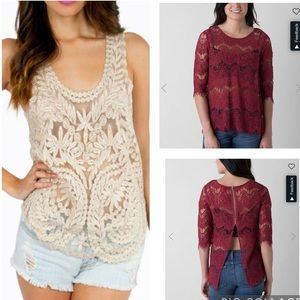 Lot of 2 Sheer Lace Layering Tops in Size Medium